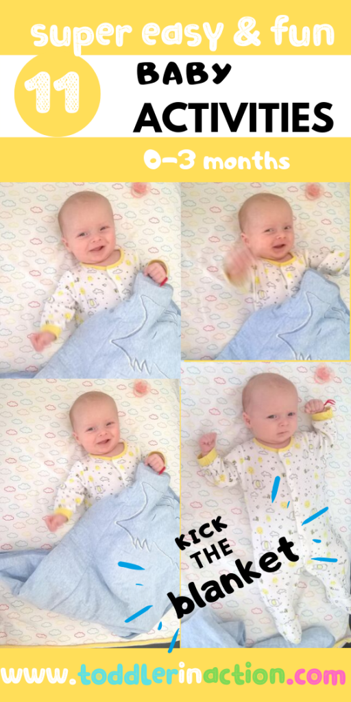baby Kicks the Blanket - Easy Baby Activities 0-3m