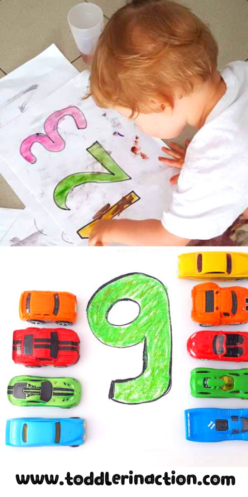 Learn numbers and colors with coloring pages and cars