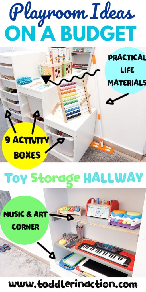 toy storage in the hallway