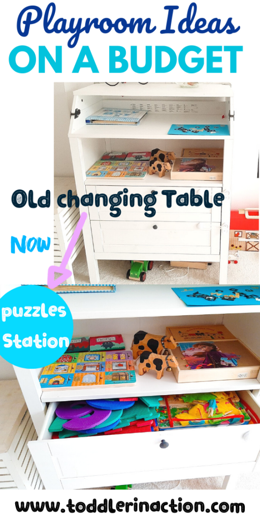 old changing table = puzzles storage