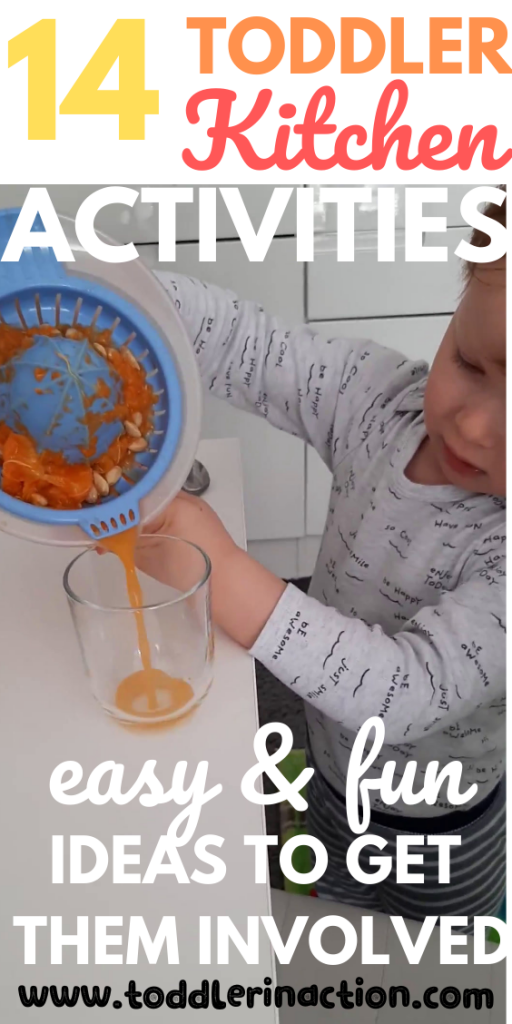 indoor toddler kitchen activities at home, making orange juice