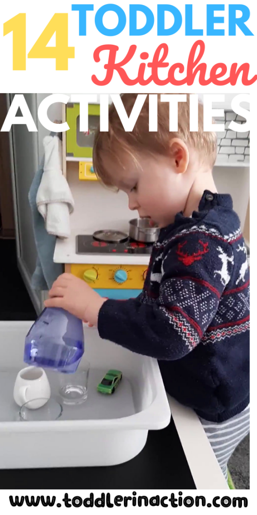 kitchen activities with toddler, pouring station