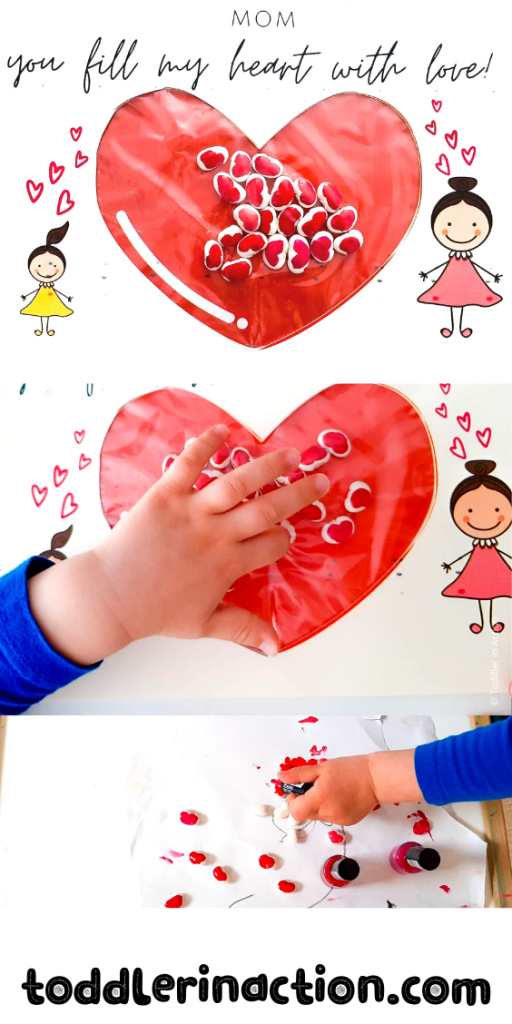 Mom, you fill my heart with love -  Mother's day craft for kids