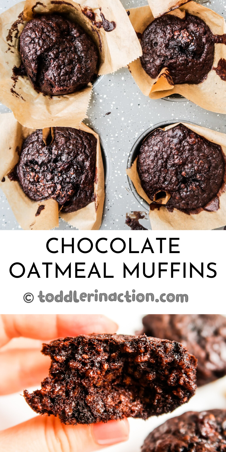 These chocolate oatmeal muffins are flourless, an easy gluten-free and dairy-free recipe, they're delicious and they're also a super easy healthy breakfast idea that you can meal prep on the weekend.