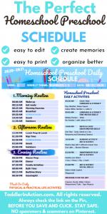 Toddler Schedules Homeschool Planner