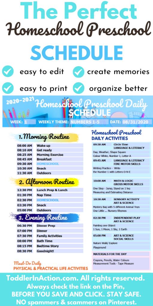 Homeschool Preschool Daily Schedule