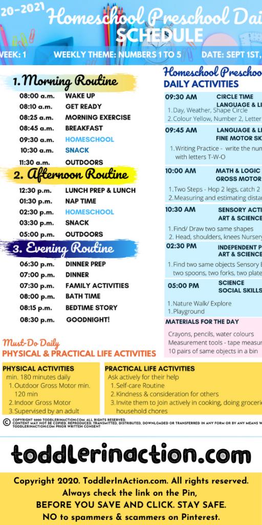 Homeschool Preschool Planner incl. Daily schedule