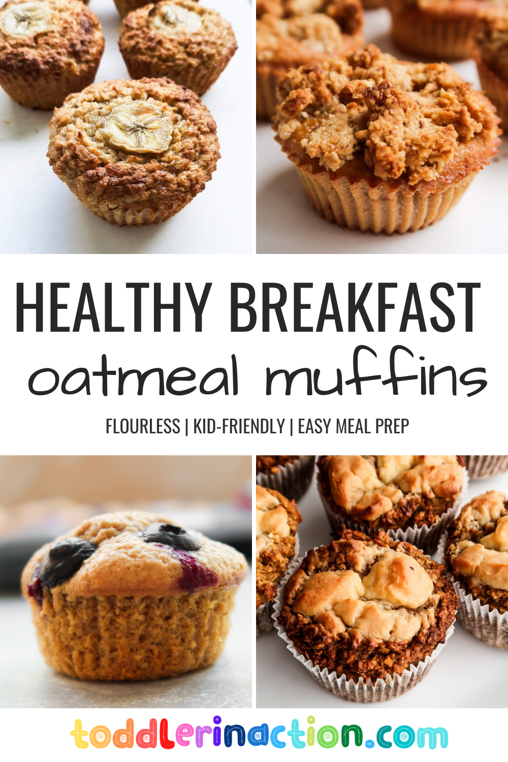10 healthy muffin recipes for kids! These delicious oatmteal muffins are flourless, refined sugar-free and delicious! Great quick and easy breakfast or healthy snack!