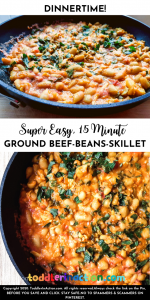 EASY & YUMMY GROUND BEEF, RED KIDNEY BEANS AND CORN SKILLET