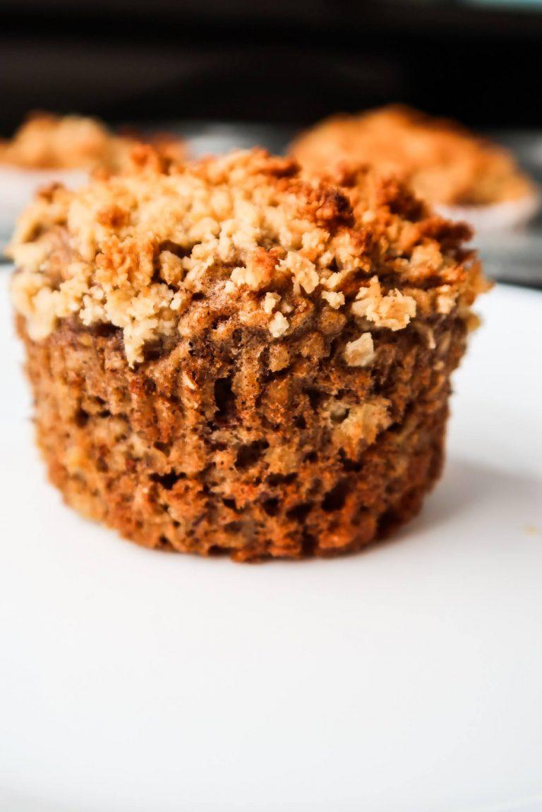 flourless healthy almond butter banana oatmeal muffins