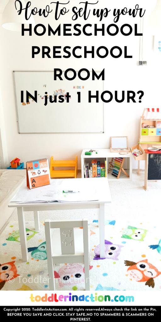 Homeschool preschool organization, homeschool preschool room set up