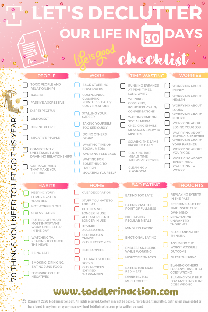 DECLUTTER OUR LIFE IN 30 DAYS CHECKLIST