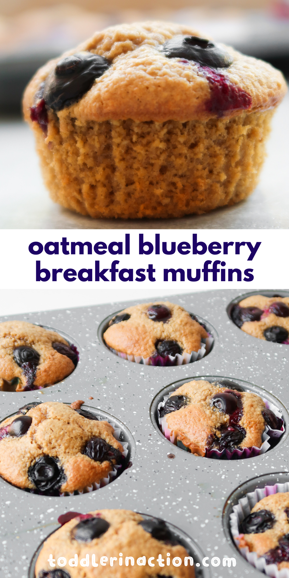 This simple oatmeal blueberry muffin recipe is great for an easy grab and go breakfast or snack! These healthy breakfast muffins are super easy to make (yes, a toddler can make them), they're toddler approved and enjoyed by grown ups as well.